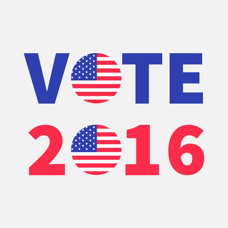 Stem 2016 rode blauwe tekst Badge knop pictogram met Amerikaanse vlag Star en strip President verkiezingsdag. Stemmen concept. Geïsoleerde witte achtergrond Card Flat design Vector illustratie