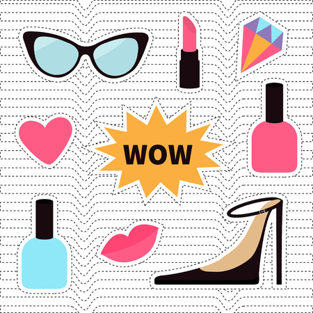 quirky: Quirky cartoon sticker patch badge set. Fashion pin. Lipstick, heart, wow text bubble star, diamond, shoes, lips, sunglasses, nail polish. White black wave dash line optical background Flat Vector Illustration