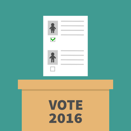 polling station: Ballot Voting box with paper blank bulletin Man Woman concept. Polling station. President election day Vote 2016. Green background Flat design Card. Vector illustration