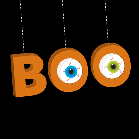 Hanging 3D word BOO text with eyeballs. Dash line thread. Happy Halloween. Greeting card. Flat design. Black background. Vector illustration