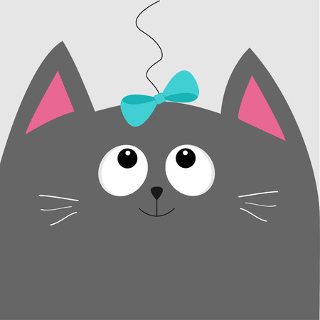 gray cat: Gray cat head looking at blue bow hanging on thread. Cute cartoon character. Pet baby collection Card. Flat design. Vector illustration.