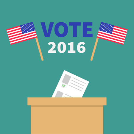 polling station: Ballot Voting box with paper blank bulletin concept. Polling station. President election day Vote 2016. Crossed American flag set. Isolated Green background Flat design Card. Vector illustration