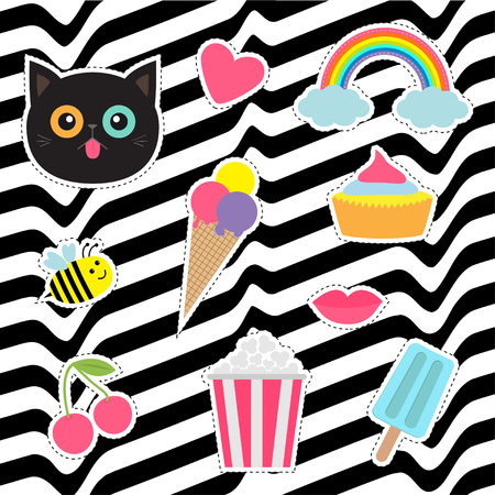 quirky: Quirky cartoon sticker patch badges set. Fashion pin collection. Cat, heart, rainbow, cloud, cupcake, bee, ice cream, popcorn, lips cherry White black wave abstract line optical background Flat Vector