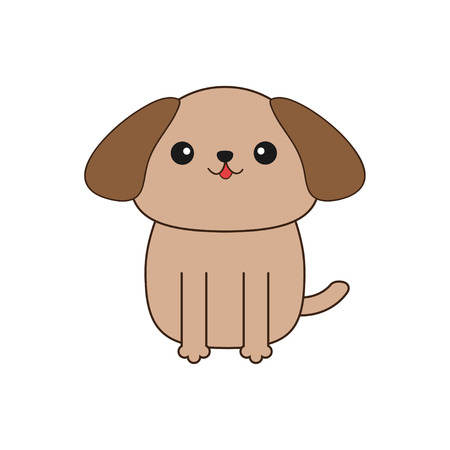 tan: Little glamour tan Shih Tzu dog. Cute cartoon character. Pet baby collection. Isolated. White background. Flat design Vector illustration Illustration