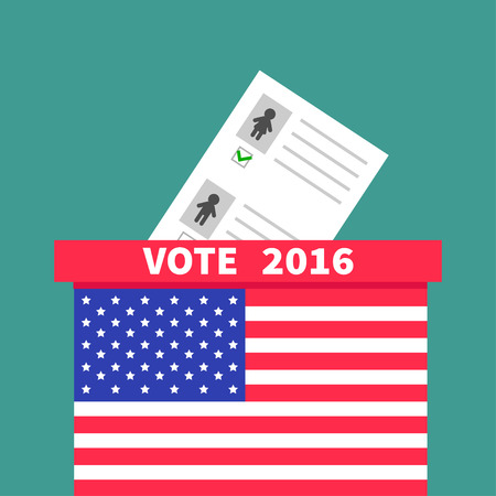 polling station: American flag Ballot Voting box with paper blank bulletin Man Woman concept. Polling station. President election day Vote 2016. Isolated Green background Flat design Card. Vector illustration Illustration