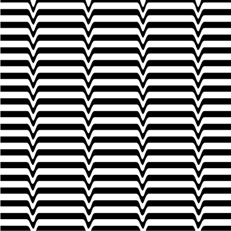 opt: White black wave abstract line optical background. Monochrome movement illusion. Art design template. Vector illustration