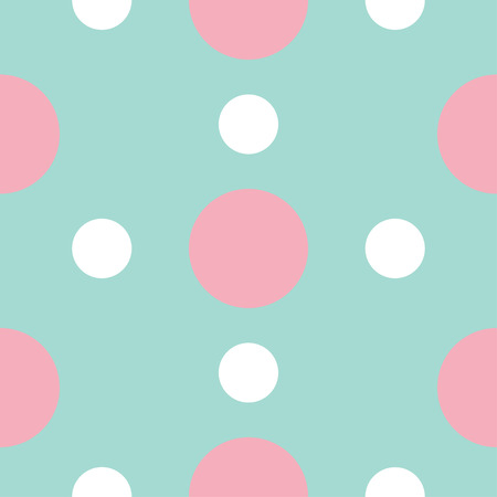 polkadot: Seamless Pattern with circle white and pink dots Geometric abstract texture. Blue background. Flat design. Vector illustration.