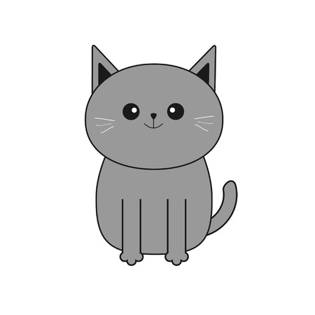 whisker: Cute gray cartoon cat. Mustache whisker. Funny smiling character. Contour Flat design. White background. Isolated. Vector illustration Illustration