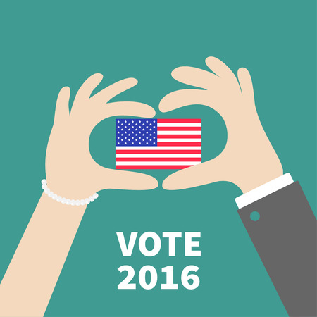 woman holding card: President election day 2016. Voting concept. Man Woman hand holding american flag. Isolated Green background Flat design Card. Vector illustration
