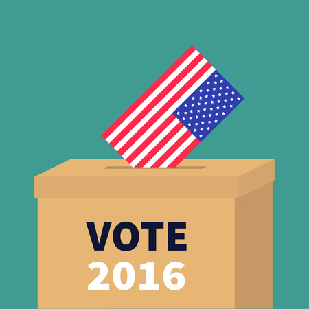 encuestando: President election day Vote 2016. Ballot Voting box with American flag paper blank bulletin concept. Polling station. Isolated Green background Flat design Card Vector illustration Vectores