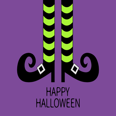 Witch legs with striped socks and shoes. Happy Halloween. Greeting card. Flat design. Violet baby background. Vector illustration