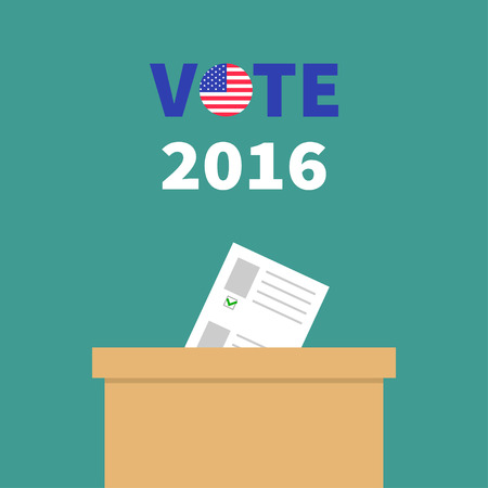 voting box: Ballot Voting box with paper blank bulletin Choice concept. Polling station. President election day Vote 2016 text round badge button. Green background Flat design Card. Vector illustration Illustration