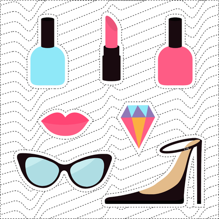 the nineties: Quirky cartoon sticker patch badge set. Woman Fashion pin. Lipstick, diamond gem, shoes, lips, sunglasses, eye glasses, nail polish White black wave dash line optical background Flat design Vector
