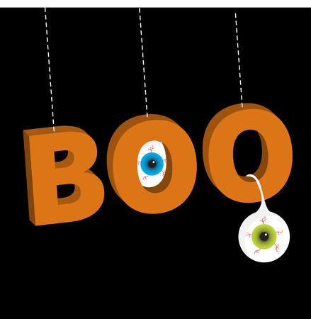 Hanging 3D word BOO text with blue green eyeballs. Dash line thread. Happy Halloween. Greeting card. Flat design. Black background. illustration Ilustração Vetorial