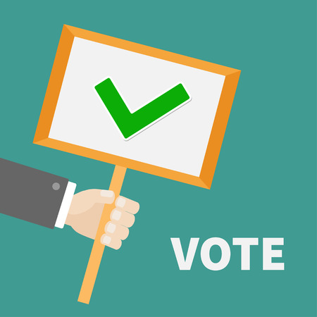 green tick: Businessman hand holding paper blank sign plate with green tick check mark. Vote text President election day. Voting concept. Flat design.