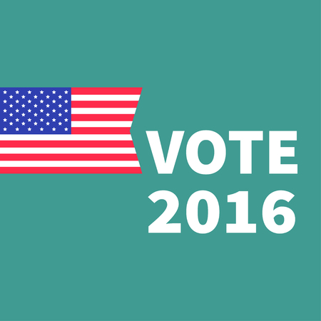 polling station: Voting concept. President election day 2016. American flag. Isolated Green background Flat design Card. illustration Illustration
