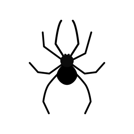 Cute cartoon black spider silhouette poisonous insect. Isolated. White background. Flat design. illustration