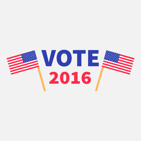 polling station: President election day 2016. Voting concept. Two american flag set. Isolated White background Flat design Card. illustration Illustration