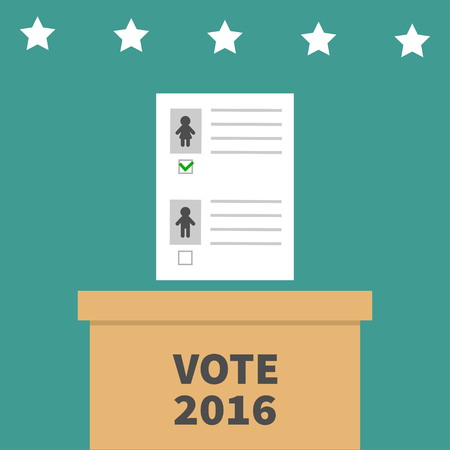 voting box: Ballot Voting box with paper blank bulletin Man Woman mark concept. Polling station. President election day Vote 2016. Green background Flat design Card. illustration Illustration