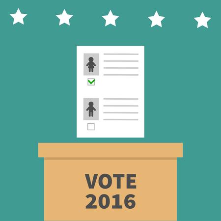 encuestando: Rectángulo de votación boleta con el concepto de marca de papel en blanco boletín de la mujer del hombre. Centro electoral. Presidente de la ele días Vota 2016. Fondo verde tarjeta Diseño plano. ilustración