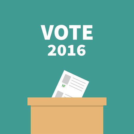 encuestando: urnas de votación de papel anuncios en blanco con el concepto de marca verde. Centro electoral. Presidente de la elección 2016 días Vota texto blanco. Tarjeta de diseño plano. ilustración