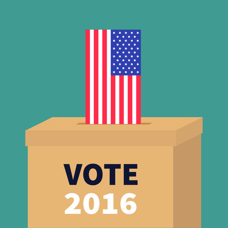polling station: Ballot Voting box with American flag paper blank bulletin concept. Polling station. President election day Vote 2016. Isolated Green background Flat design Card  illustration Illustration