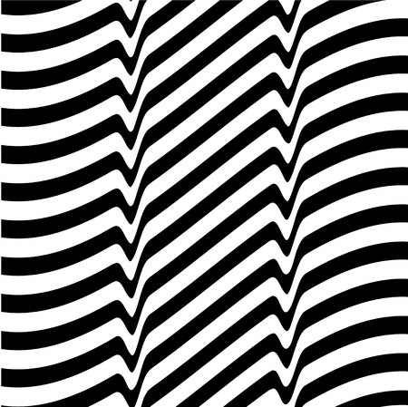 opt: White black abstract wave line optical background. Monochrome movement illusion. Art design template. illustration