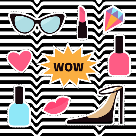 Quirky cartoon sticker patch badge set. Fashion pin. Lipstick, heart, wow text bubble star, diamond, shoes, lips, sunglasses, nail polish. White black wave abstract line optical background Illustration