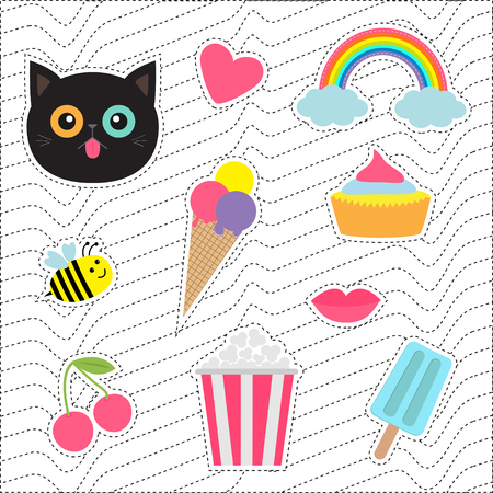nineties: Quirky cartoon sticker patch badges set. Fashion pin collection. Cat, heart, rainbow, cloud, cupcake, bee, ice cream, popcorn, lips, cherry White black wave dash line optical background.