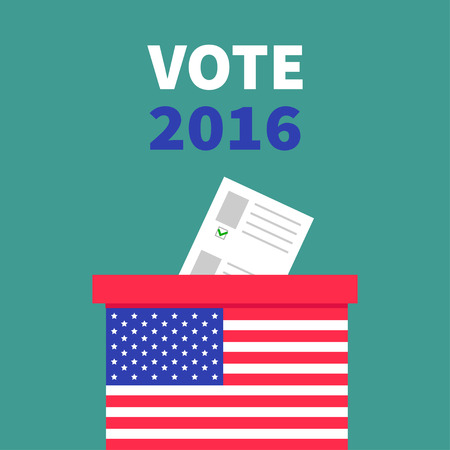 voting box: American flag Ballot Voting box with paper blank bulletin concept. Polling station. President election day Vote 2016. Green background Flat design Card illustration