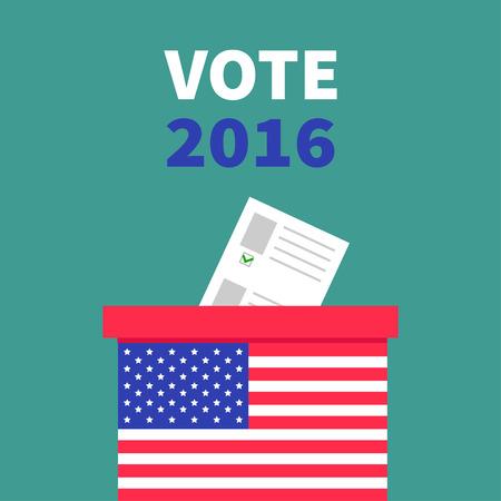 encuestando: Caja americana votación bandera Papeleta con papel concepto de anuncios en blanco. Centro electoral. Presidente de la ele días Vota ilustración Tarjeta de 2016. Diseño plano de fondo verde Vectores