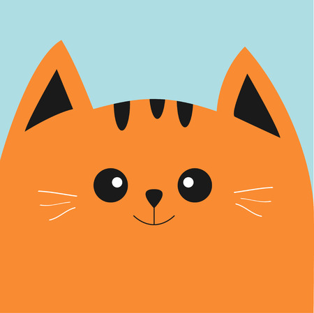 Orange red cat head with big eyes and moustache. Cute cartoon character. Pet baby collection Card. Flat design. illustration. Ilustração