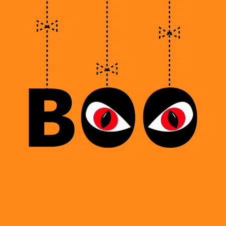 red eyes: Hanging word BOO text with red eyes. Evil eyeballs. Dash line thread, bow. Happy Halloween. Greeting card. Flat design. Orange background. illustration Illustration
