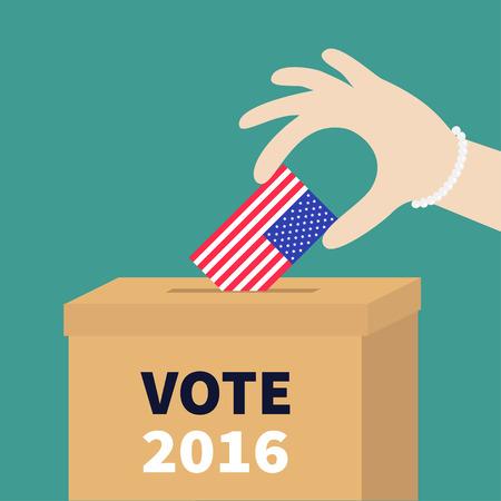encuestando: Rectángulo de votación boleta Mujer que sostiene la bandera de papel en blanco concepto de anuncios estadounidense. Centro electoral. Presidente de la ele días Vota 2016. Aislado Fondo verde Diseño plano ilustración de la tarjeta