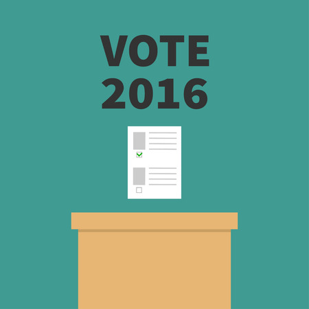voting box: Ballot Voting box Paper blank bulletin with green mark concept. Polling station. President election day Vote 2016 black text. Flat design Card. illustration