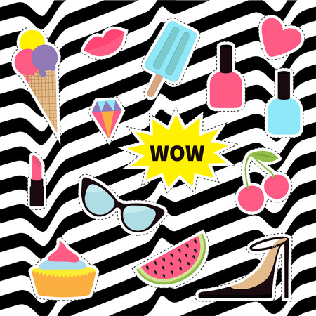 Quirky sticker patch badge set. Fashion pin. Lipstick, heart, wow, cupcake, shoes, ice cream, watermelon, lips, cherry sunglasses White black wave abstract line optical background. Illustration