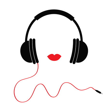 Headphones with red cord and lips Music card. Flat design icon White background Isolated Vector illustration Illustration