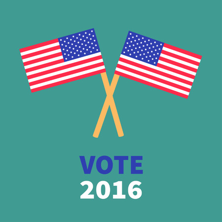 polling station: President election day 2016. Voting concept. Two crossed american flag set. Isolated Green background Flat design Card. Vector illustration Illustration