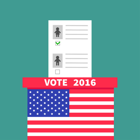 voting box: American flag Ballot Voting box with paper blank bulletin Man Woman concept. Polling station. President election day Vote 2016. Green background Flat design Card Vector illustration Illustration