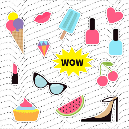 Quirky sticker patch badge set. Fashion pin. Lipstick, heart, wow, cupcake, shoes, ice cream, watermelon, lips, cherry sunglasses White black wave dash line optical background. Flat Vector Illustration