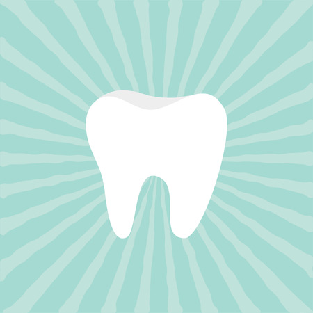 Tooth icon. Healthy tooth. Oral dental hygiene. Children teeth care. Tooth health. Blue sunburst starburst background with ray of light. Flat design. Vector illustration 矢量图像