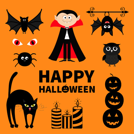 red eye: Count Dracula, monster, spider, bat, owl, red eye candle set Happy Halloween. Text with pumpkin. Cute cartoon silhouette character. Baby collection. Orange background. Greeting card. Flat Vector