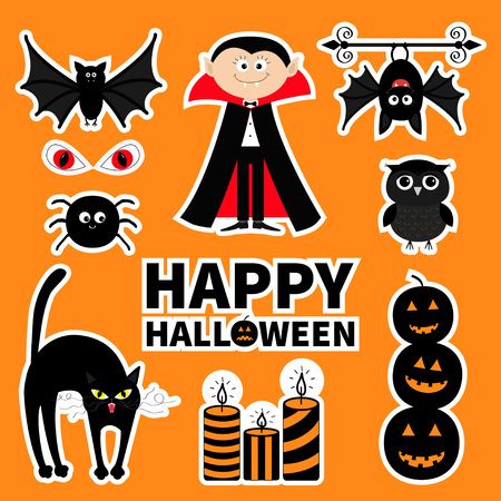 red eye: Sticker patch badge set. Count Dracula, monster, spider, bat, owl, red eye candle Happy Halloween. Text pumpkin Cute cartoon character. Baby collection. Orange background. Greeting card. Flat Vector