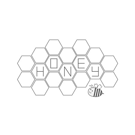 Honeycomb set. Bee insect animal. Beehive element. Honey text icon. Isolated. White background. Flat design. Vector illustration Illustration