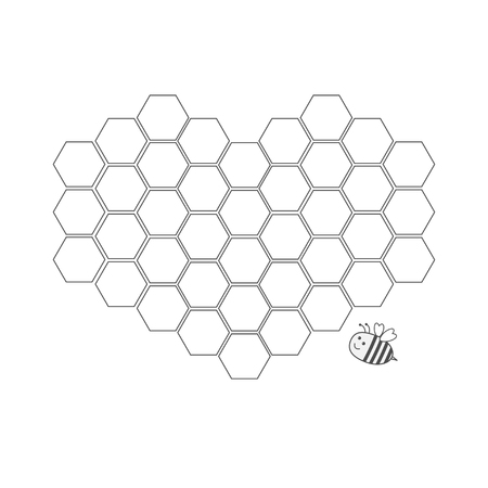 Bee insect animal. Honeycomb set in shape of heart. Beehive element. Honey icon. Isolated. White background. Flat design. Vector illustration Çizim