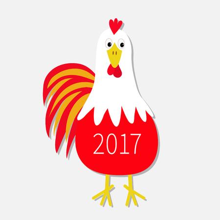 Roter Hahn-Hahn-Vogel. 2017 Glückliches Neues Jahr Text Symbol ...