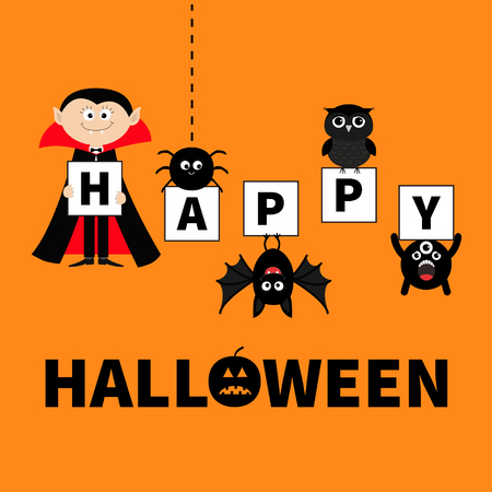 Count Dracula, monster, spider, bat owl holding letters. Happy Halloween. Text with pumpkin. Cute cartoon scary silhouette character. Baby collection. Orange background. Greeting card. Flat Vector