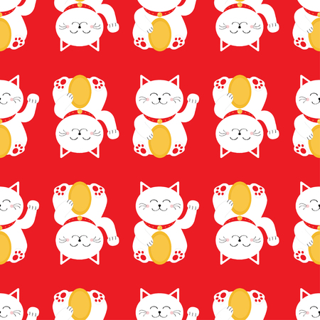 Lucky cat holding golden coin. Japanese Maneki Neco kitten waving hand paw. Seamless line Pattern Cute character. Wrapping paper, textile template. Red background. Flat design. Vector illustration. Illustration