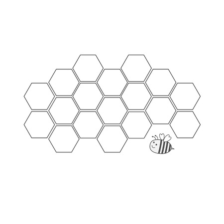 beeswax: Honeycomb set. Beehive element. Honey icon. Bee insect animal. Isolated. White background. Flat design Vector illustration