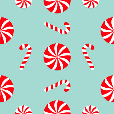 candycane: Christmas Candy Cane Round white and red sweet set. Seamless Pattern Decoration. Wrapping paper, textile template. Blue background. Flat design. Vector illustration.